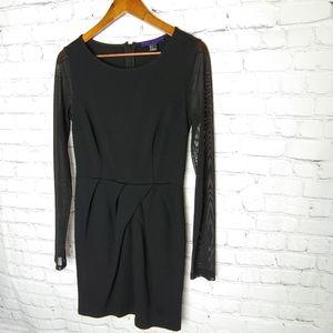 Forever 21 Black Fitted dress Sheer Sleeves